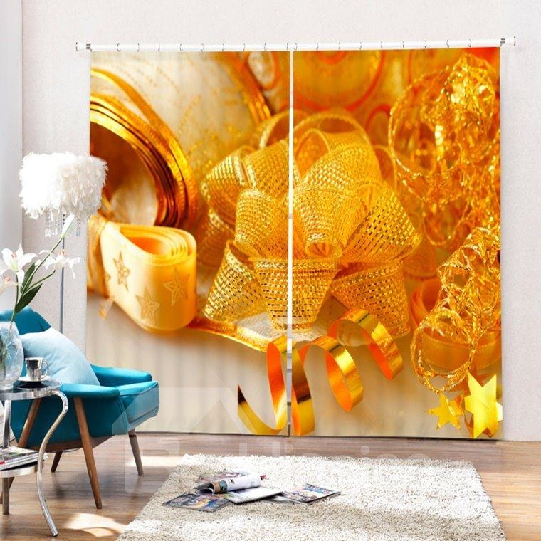 Golden Ribbon Christmas Decor Printing Christmas Theme 3D Curtain
