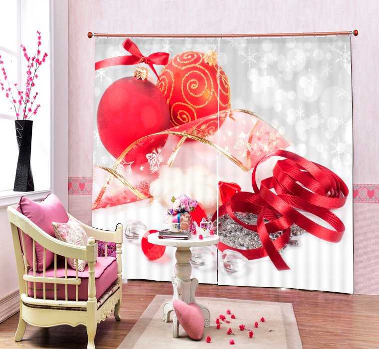 Christmas Decors Printing Merry Christmas 3D Curtain