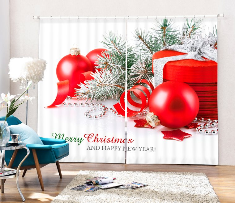 Christmas Gifts and Red Balls Printing Christmas Theme 3D Curtain