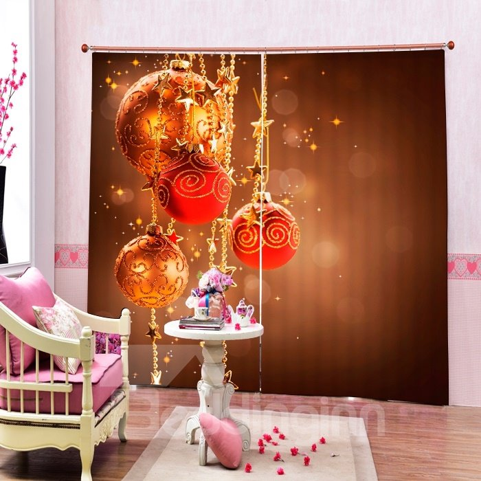 Dreamlike Red Christmas Balls Decor Printing Christmas Theme 3D Curtain