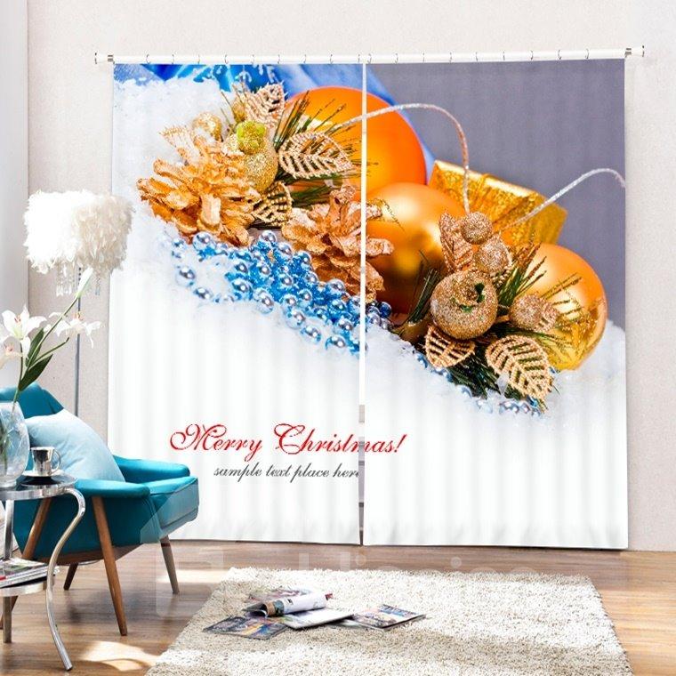 Golden Christmas Balls Decor Printing Merry Christmas Theme 3D Curtain