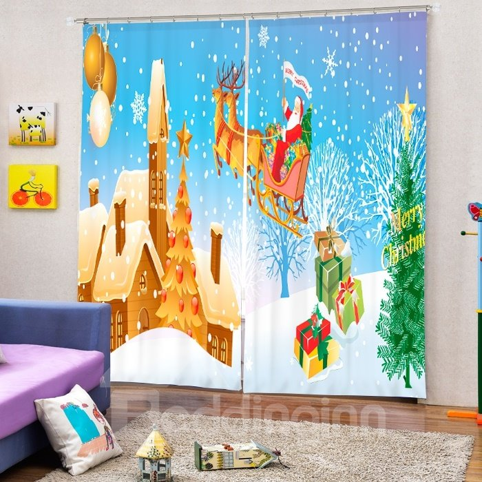 Santa Riding Reindeer Flying Castle Printing Christmas Theme 3D Curtain