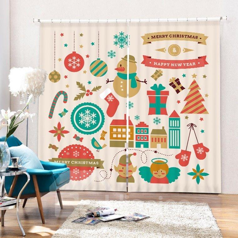 Super Cute Clip Art Christmas Theme Printing 3D Curtain