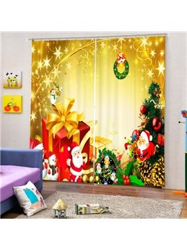 Cute Santa with Presents Printing Christmas Theme 3D Curtain