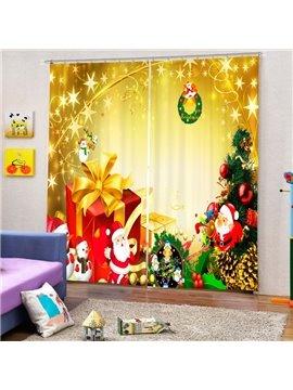 Cute Santa with Presents Printing Christmas Theme 3D Curtain