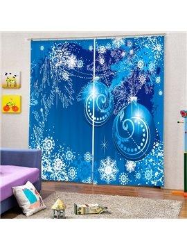 Dreamlike Blue Christmas Balls Printing Christmas Theme 3D Curtain