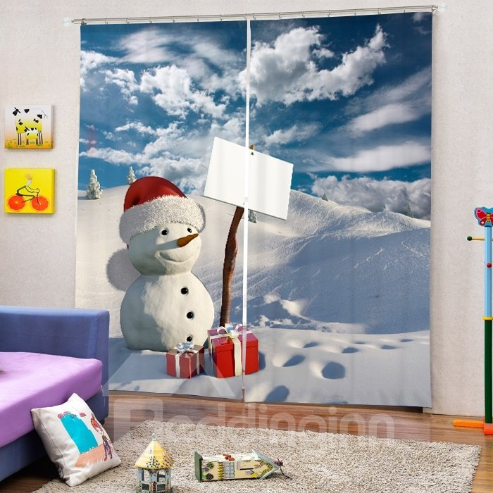 Cute Snowman with Gift Printing Christmas Theme 3D Curtain
