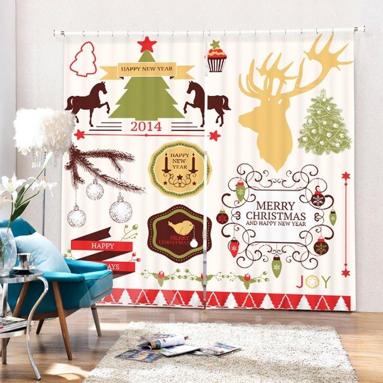 Clip Art Christmas Theme Decor Printing 3D Curtain