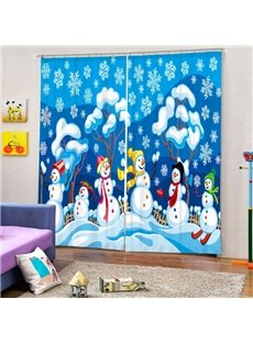 Happy Snowmen Playing Printing Christmas Theme 3D Curtain