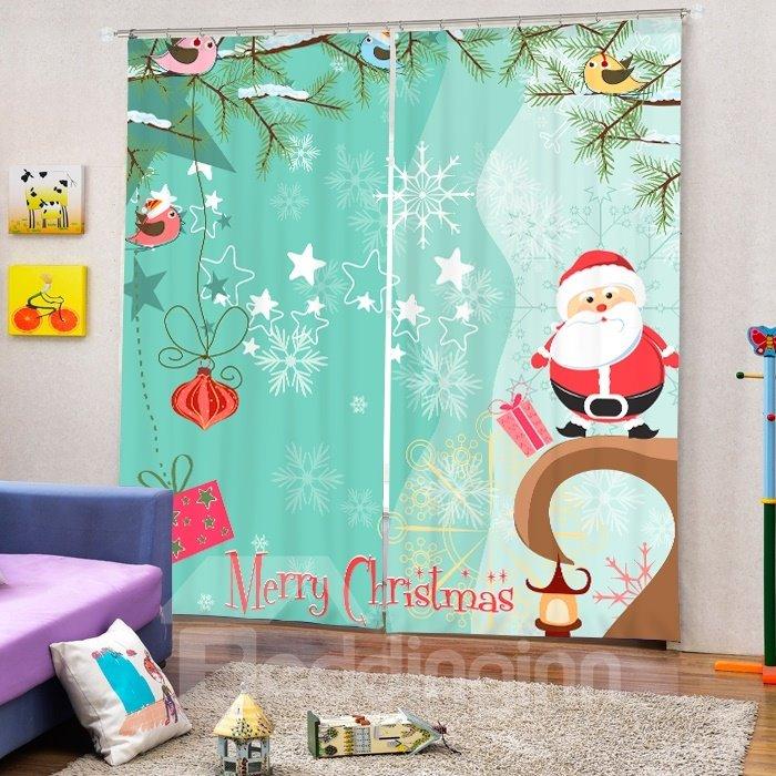 Clip Art Santa Merry Christmas Theme Printing 3D Curtain