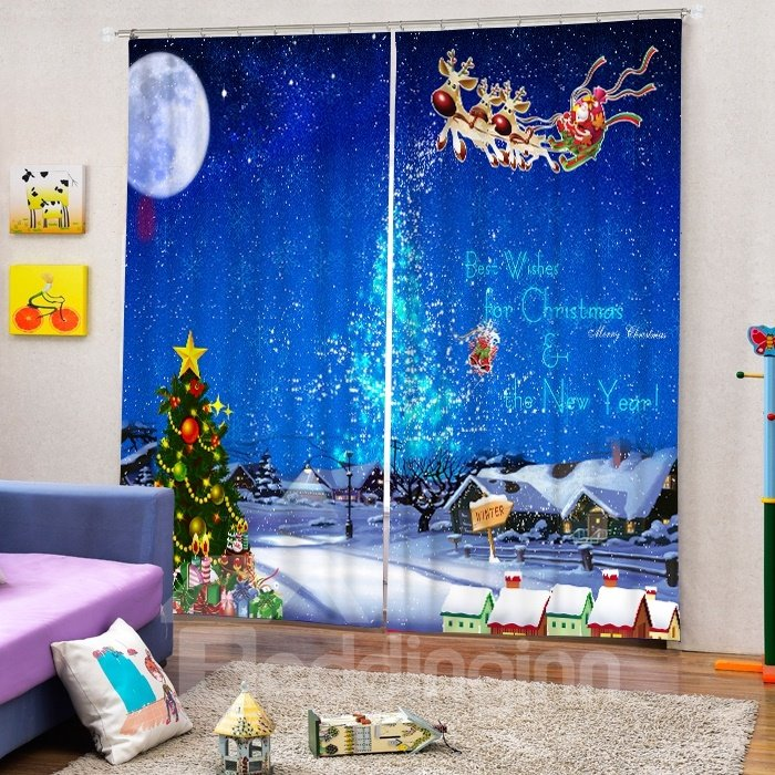 Santa Riding Reindeer in the Sky Printing Christmas Theme 3D Curtain