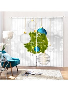 White and Blue Christmas Lighting Decor Printing 3D Curtain