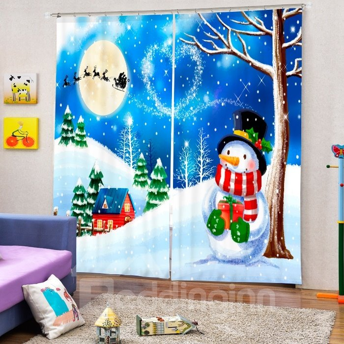 Cartoon Snowman under the Tree in Snowy Weather Christmas Theme Custom 3D Curtain