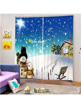 Lovely Snowman and Cabin Printing Christmas Theme 3D Curtain