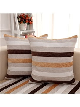Modern Simple Square Strips Print with Invisible Zipper Sofa Decorative Throw Pillow