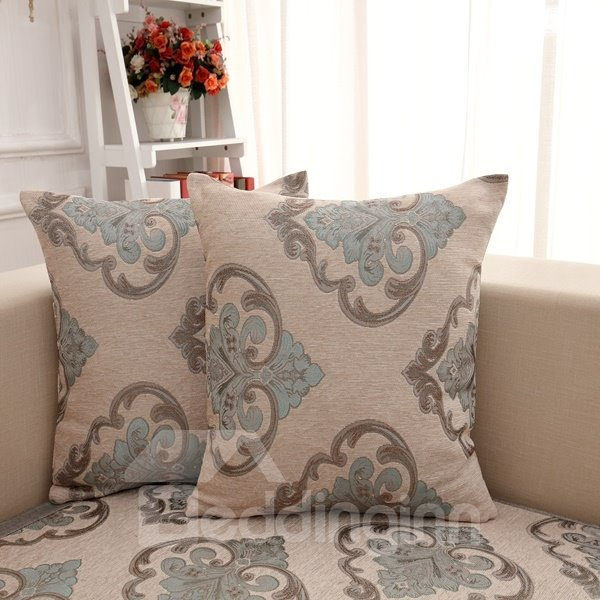 Gorgeous Gray with Blue Flower Pattern with Invisible Zipper Decorative Sofa Throw Pillow