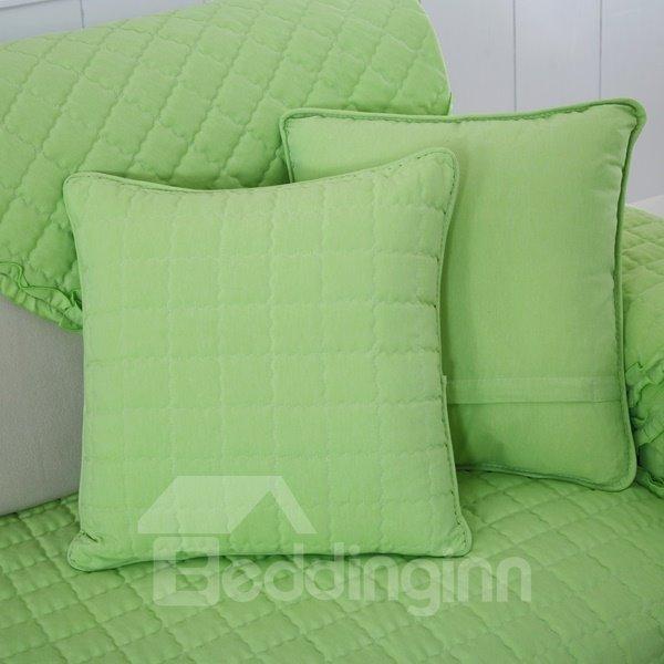 Purple Cotton Quilting Seam Plaid Pattern Decorative Sofa Throw Pillow