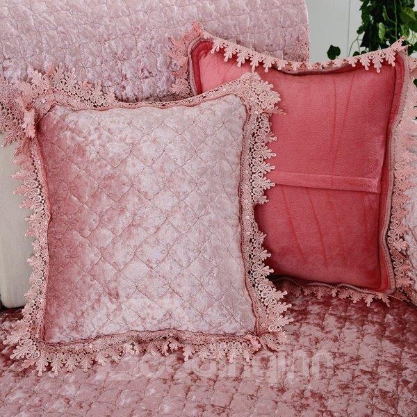 Delicate Square Pleuche Quilting Seam Lace Edge Home Decorative Throw Pillow