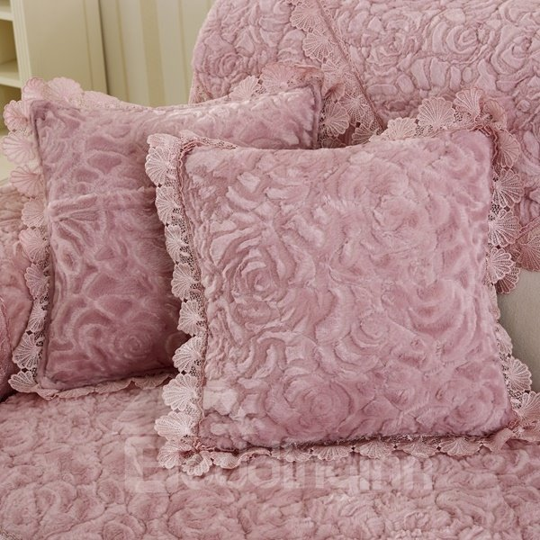 Gorgeous Three-dimensional Rose Print with Invisible Zipper Sofa Comfortable Throw Pillow