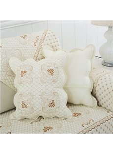 White Simple Style Square Shape Soft Home Decorative Cotton Throw Pillow