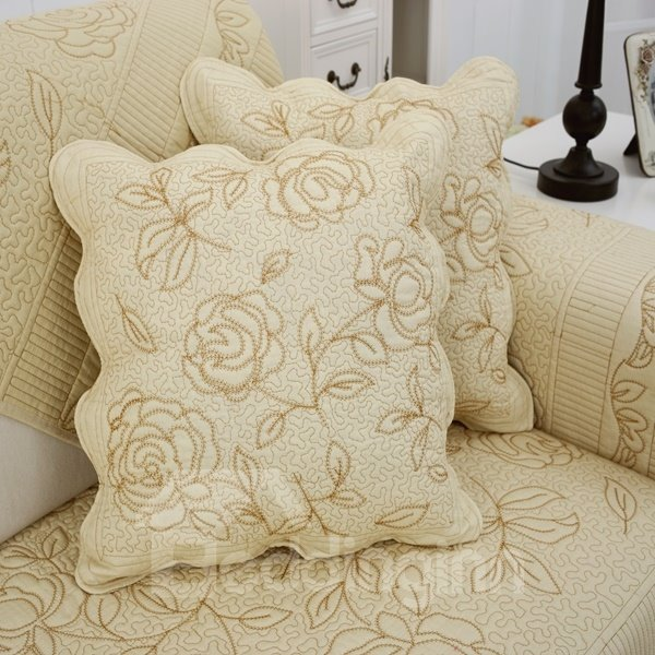 Special Square Embroidery Rose Print with Invisible Zipper Sofa Throw Pillow