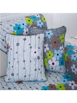 Modern Fashion Cotton Flower with Invisible Zipper Sofa Decorative Throw Pillow