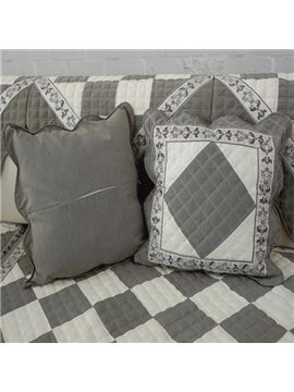 Gray Square Quilting Seam Plaid Pattern with Invisible Zipper Decorative Sofa Throw Pillow