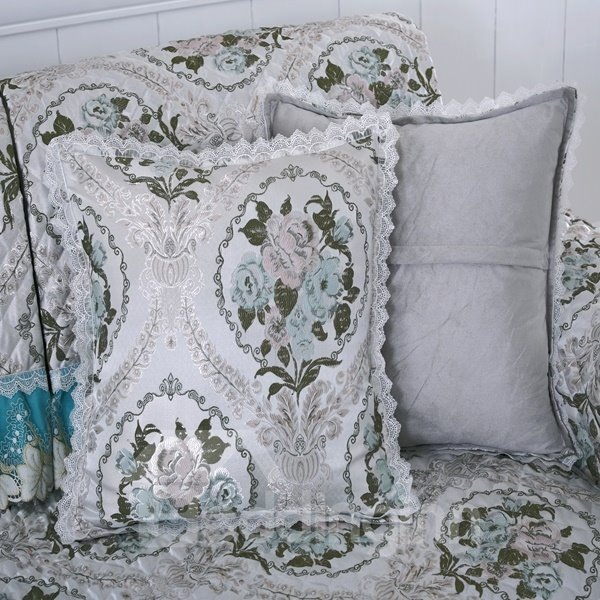 European Style Sofa Decorative Flower Print with Invisible zipper Throw Pillow