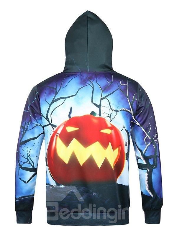 Halloween Style Long Sleeve Pumkin Pattern Pocket 3D Painted Hoodie