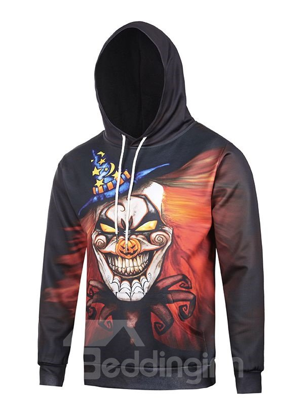 Halloween Style Long Sleeve Horrible Clown Pattern Pocket 3D Painted Hoodie