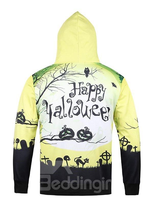 Halloween Style Long Sleeve Pumkins Pattern Pocket 3D Painted Hoodie