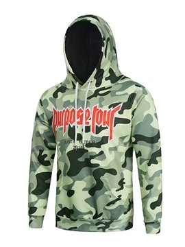Fashion Long Sleeve Camouflage Pattern Pocket 3D Painted Hoodie