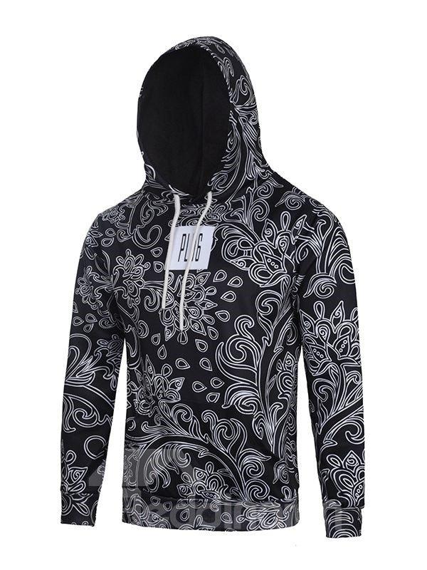 Long Sleeve Concise Figured Pattern Black 3D Painted Hoodie