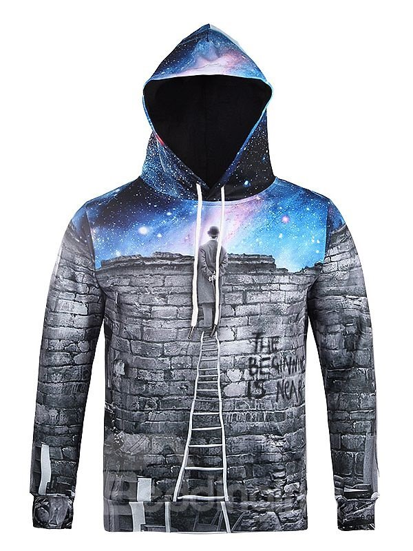 Long Sleeve Watching Sky Pattern Pocket 3D Painted Hoodie