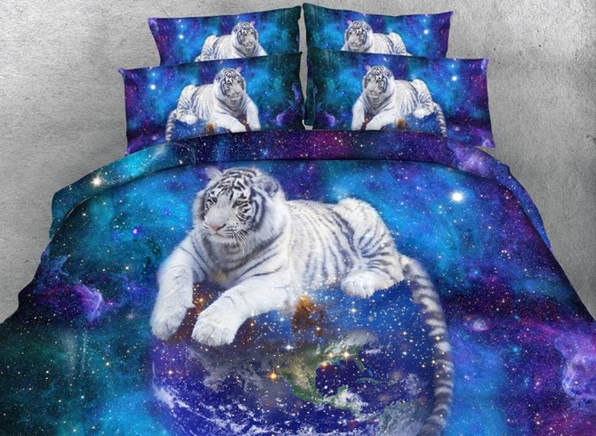 3D White Tiger and Galaxy Printed 4-Piece Bedding Sets/Duvet Covers
