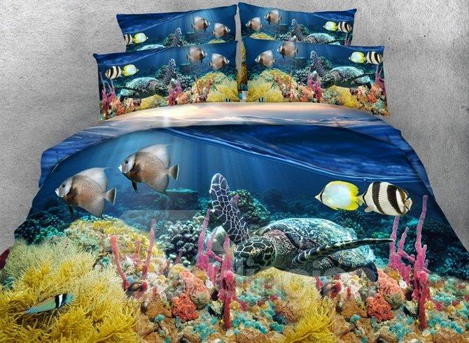 Vivid 3D Sea Turtle Printed 4-Piece Duvet Cover Sets
