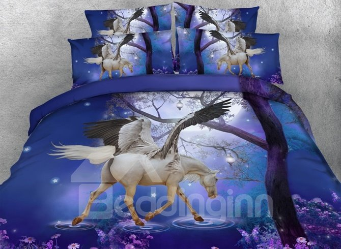 Dreamy 3D Unicorn with Wings Printed 4-Piece Duvet Cover Sets