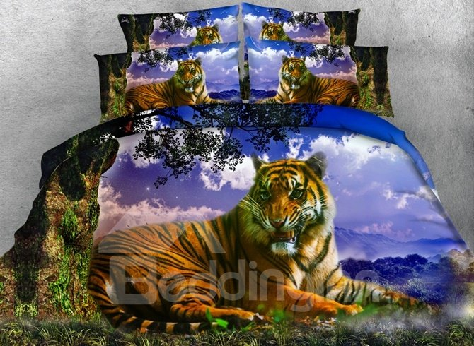 3D Lying Tiger and Tree printed Cotton 4-Piece Bedding Sets/Duvet Covers