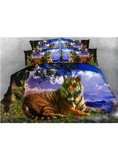 Fierce 3D Tiger Printed 4-Piece Duvet Cover Sets