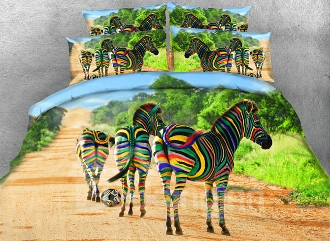 3D Colorful Zebra Printed Cotton 4-Piece Bedding Sets/Duvet Covers