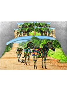 Creative Colorful Zebra Print 4-Piece Duvet Cover Sets