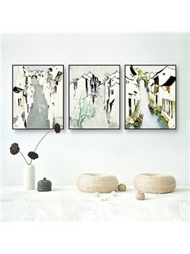 Elegant Framed 3-pieces Riverside Town Pattern Home Decorative Wall Art Prints