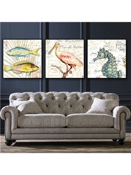 European Style 3-Pieces with Cute Fish and Bird Pattern Framed Wall Art Prints