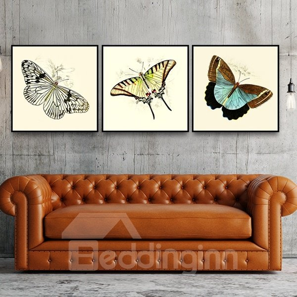 Simple Style Butterflies Pattern Framed 3-pieces Wall Art Prints