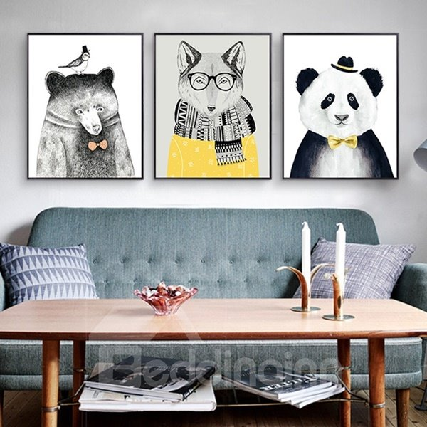 Amusing Fancy Decorative Animal Pattern Framed 3-pieces Wall Art Prints