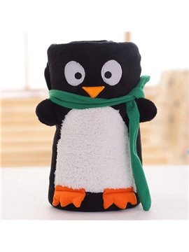 Super Lovely Penguin Design Comfortable Coral Blanket