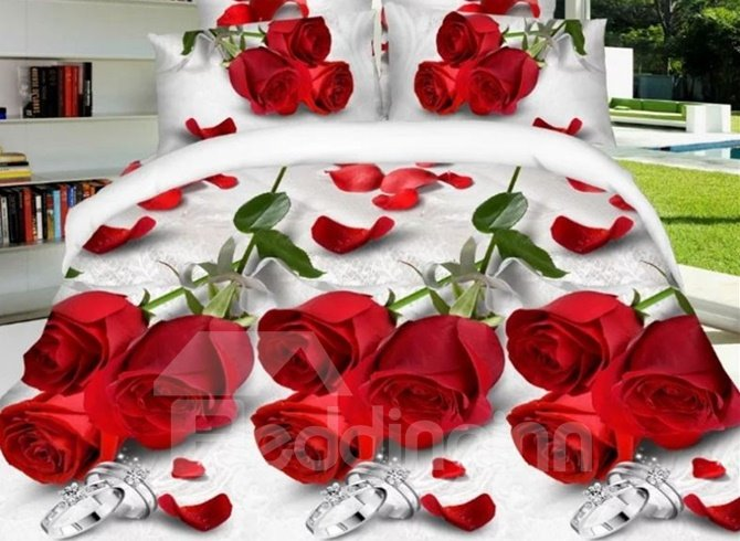Romantic Red Rose and Ring Print 4-Piece Polyester Duvet Cover Sets