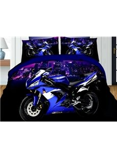 Unique 3D Motorcycle Printed 4-Piece Polyester Duvet Cover Sets