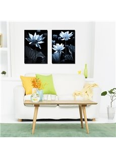 Black Square Lotus Pattern 2 Pieces Framed Canvas Wall Art Prints