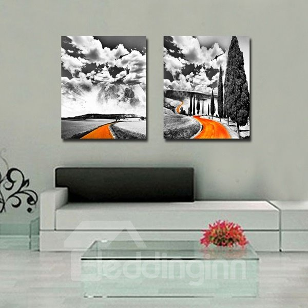 White Cloud and Road Pattern Home Decorative Framed Wall Art Prints